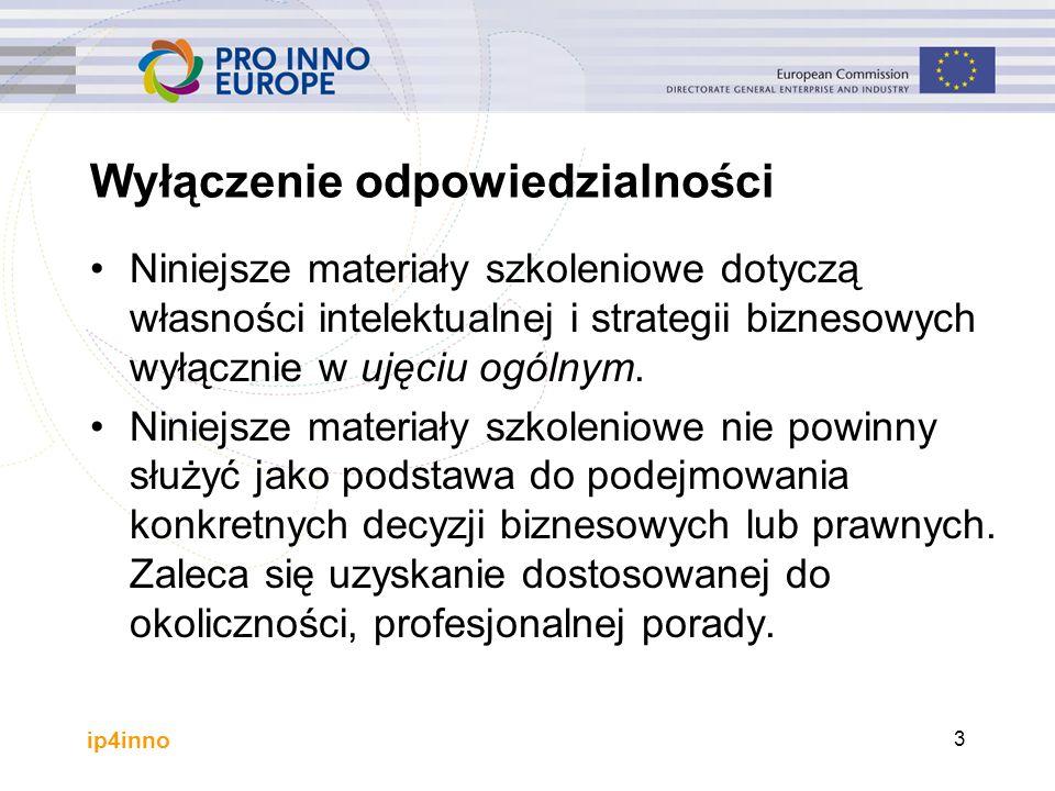 ip4inno 3 Wyłączenie odpowiedzialności Niniejsze materiały szkoleniowe dotyczą własności intelektualnej i strategii biznesowych wyłącznie w ujęciu ogólnym.