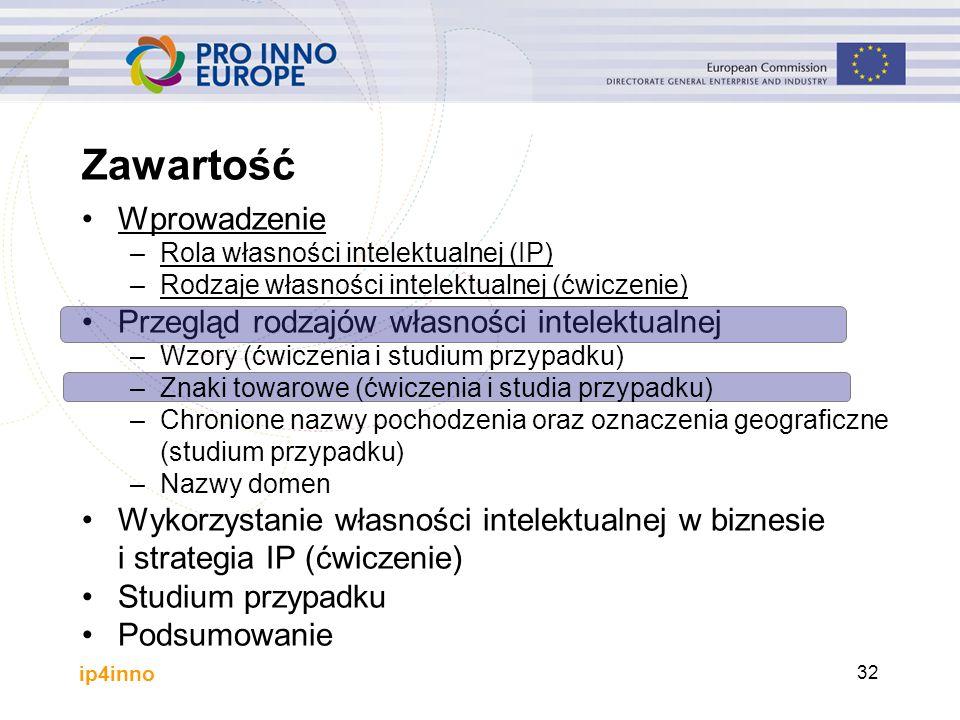 ip4inno 32 Wprowadzenie –Rola własności intelektualnej (IP) –Rodzaje własności intelektualnej (ćwiczenie) Przegląd rodzajów własności intelektualnej –