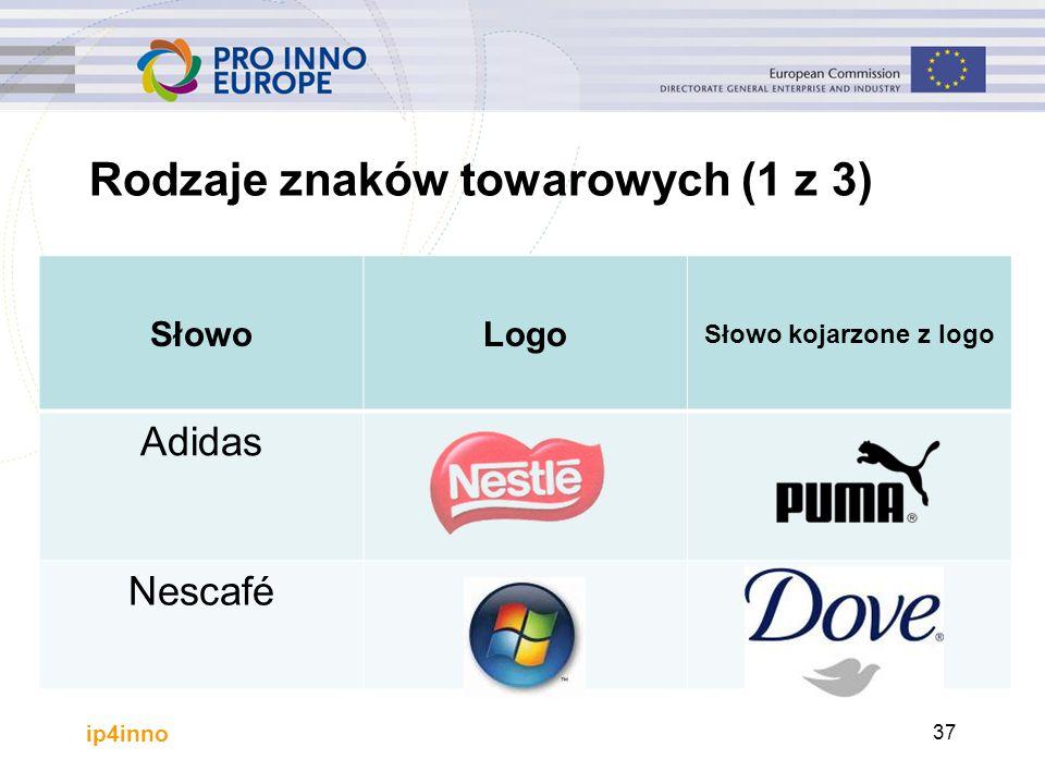 SłowoLogo Słowo kojarzone z logo Adidas Nescafé 37 Rodzaje znaków towarowych (1 z 3)