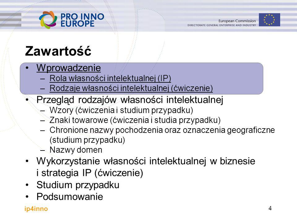 ip4inno 4 Wprowadzenie –Rola własności intelektualnej (IP) –Rodzaje własności intelektualnej (ćwiczenie) Przegląd rodzajów własności intelektualnej –W