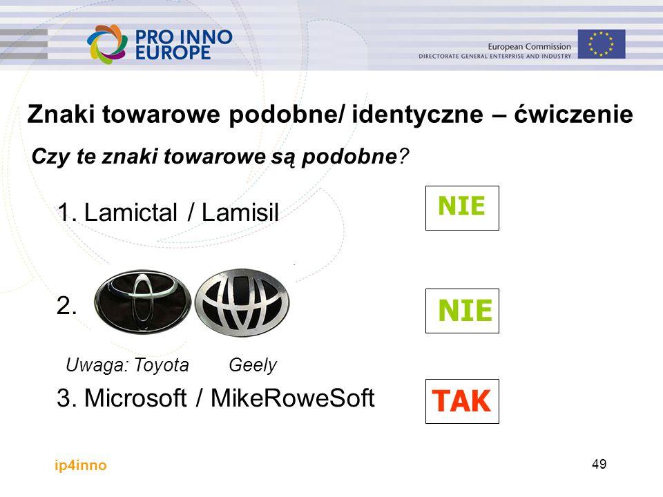 ip4inno 49 1.Lamictal / Lamisil 2. 3.Microsoft / MikeRoweSoft NIE TAK Znaki towarowe podobne/ identyczne – ćwiczenie Czy te znaki towarowe są podobne?