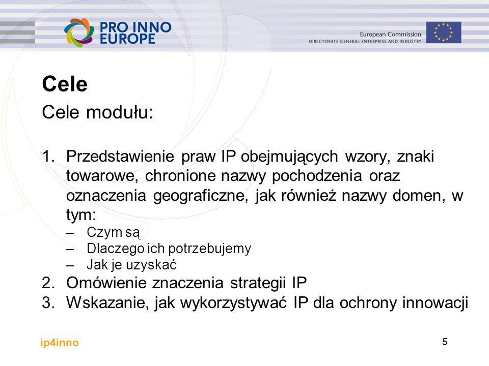 ip4inno 5 Cele Cele modułu: 1.Przedstawienie praw IP obejmujących wzory, znaki towarowe, chronione nazwy pochodzenia oraz oznaczenia geograficzne, jak również nazwy domen, w tym: –Czym są –Dlaczego ich potrzebujemy –Jak je uzyskać 2.Omówienie znaczenia strategii IP 3.Wskazanie, jak wykorzystywać IP dla ochrony innowacji