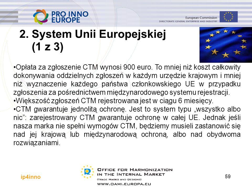 ip4inno 59 Opłata za zgłoszenie CTM wynosi 900 euro. To mniej niż koszt całkowity dokonywania oddzielnych zgłoszeń w każdym urzędzie krajowym i mniej