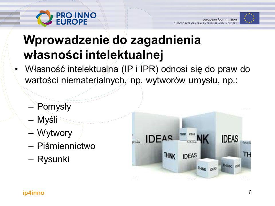 ip4inno 6 Wprowadzenie do zagadnienia własności intelektualnej Własność intelektualna (IP i IPR) odnosi się do praw do wartości niematerialnych, np. w