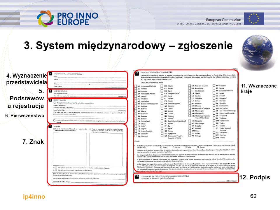 ip4inno 3. System międzynarodowy – zgłoszenie 4. Wyznaczenie przedstawiciela 5.