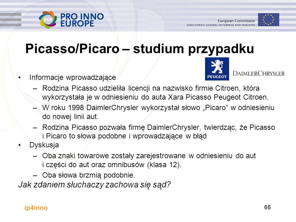 ip4inno Picasso/Picaro – studium przypadku Informacje wprowadzające –Rodzina Picasso udzieliła licencji na nazwisko firmie Citroen, która wykorzystała je w odniesieniu do auta Xara Picasso Peugeot Citroen.