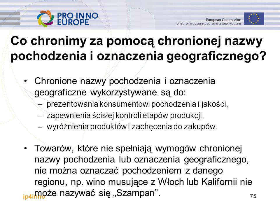 ip4inno 75 Chronione nazwy pochodzenia i oznaczenia geograficzne wykorzystywane są do: –prezentowania konsumentowi pochodzenia i jakości, –zapewnienia