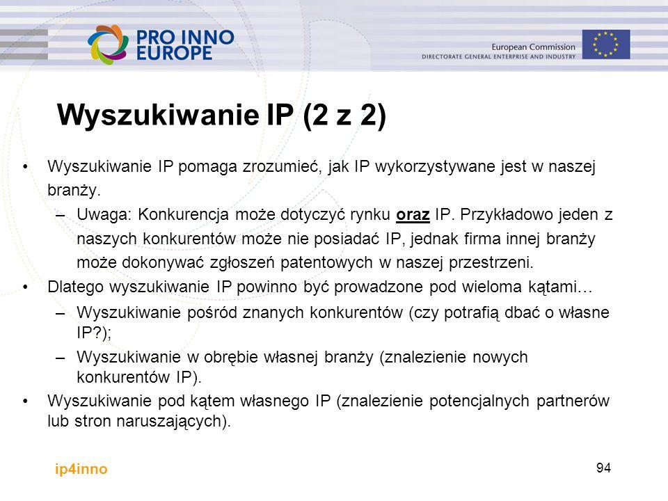 ip4inno Wyszukiwanie IP (2 z 2) Wyszukiwanie IP pomaga zrozumieć, jak IP wykorzystywane jest w naszej branży. –Uwaga: Konkurencja może dotyczyć rynku