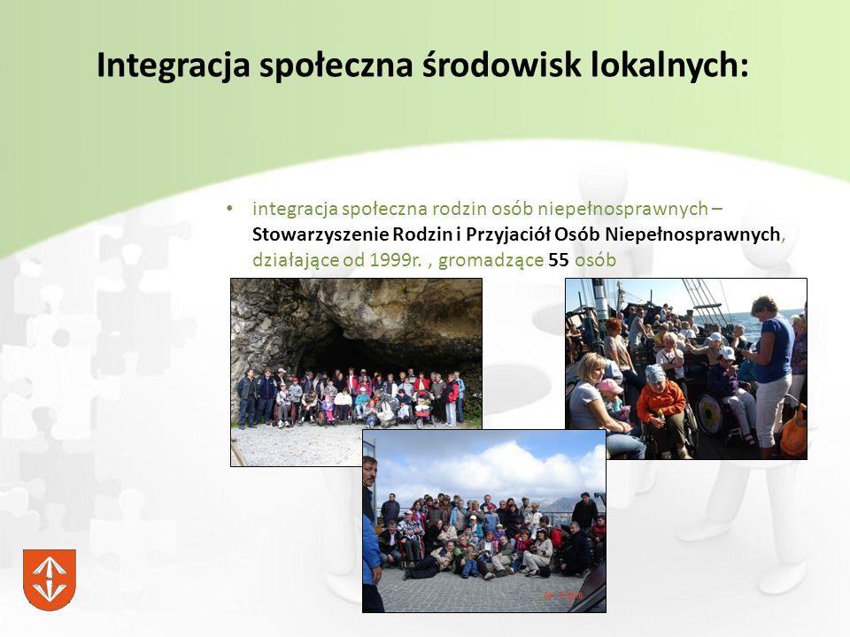 Integracja społeczna środowisk lokalnych: integracja społeczna rodzin osób niepełnosprawnych – Stowarzyszenie Rodzin i Przyjaciół Osób Niepełnosprawnych, działające od 1999r., gromadzące 55 osób
