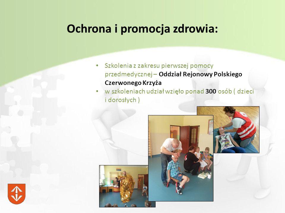 Ochrona i promocja zdrowia: Szkolenia z zakresu pierwszej pomocy przedmedycznej – Oddział Rejonowy Polskiego Czerwonego Krzyża w szkoleniach udział wzięło ponad 300 osób ( dzieci i dorosłych )
