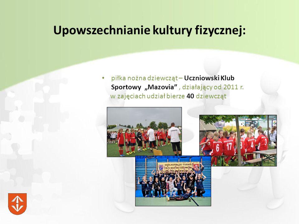 """Upowszechnianie kultury fizycznej: piłka nożna dziewcząt – Uczniowski Klub Sportowy """"Mazovia , działający od 2011 r."""