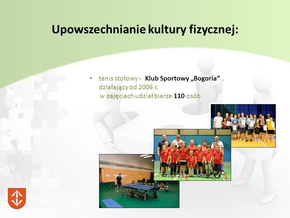 """Upowszechnianie kultury fizycznej: tenis stołowy - Klub Sportowy """"Bogoria , działający od 2006 r."""