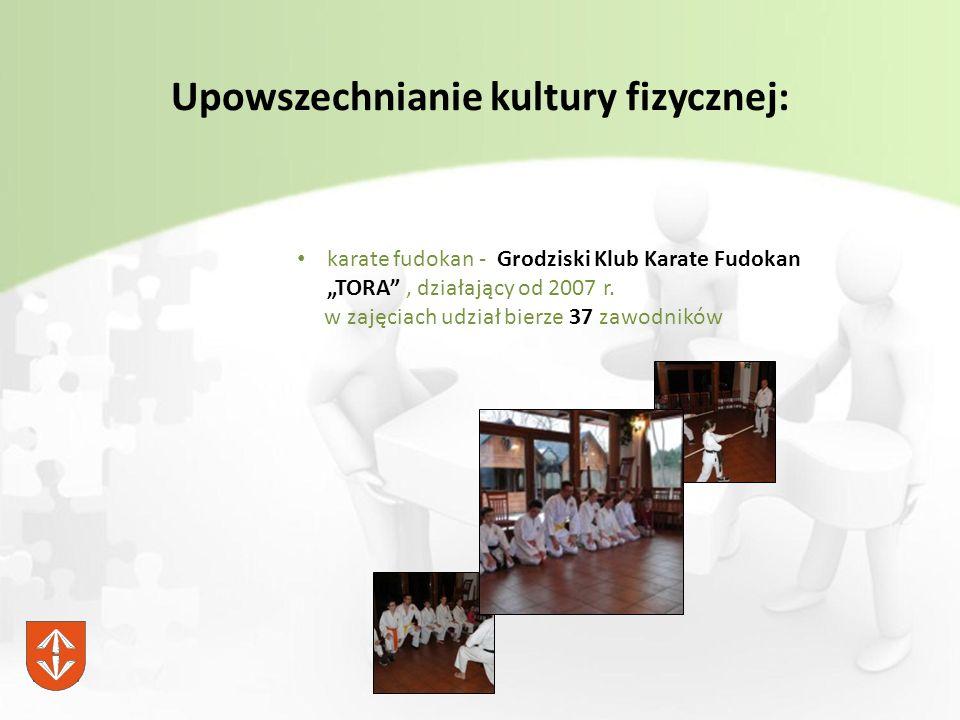 """Upowszechnianie kultury fizycznej: karate fudokan - Grodziski Klub Karate Fudokan """"TORA , działający od 2007 r."""