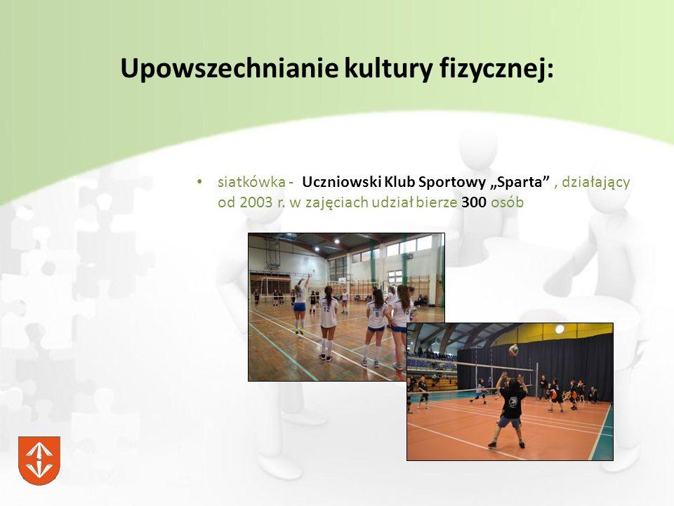 """Upowszechnianie kultury fizycznej: siatkówka - Uczniowski Klub Sportowy """"Sparta , działający od 2003 r."""