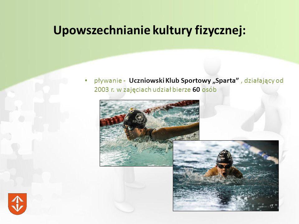 """Upowszechnianie kultury fizycznej: pływanie - Uczniowski Klub Sportowy """"Sparta , działający od 2003 r."""