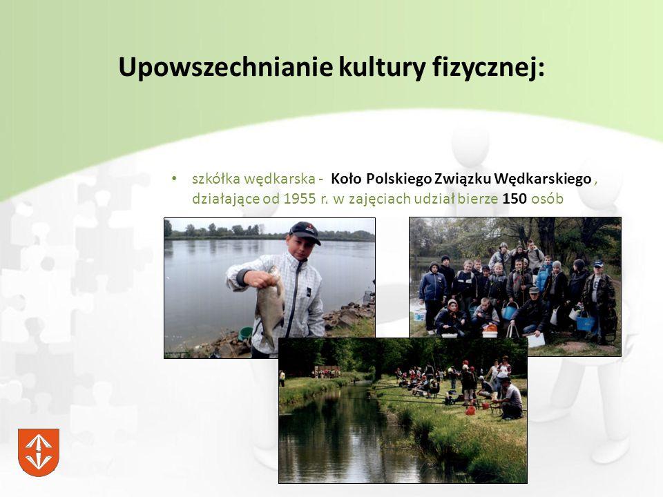 Upowszechnianie kultury fizycznej: szkółka wędkarska - Koło Polskiego Związku Wędkarskiego, działające od 1955 r.