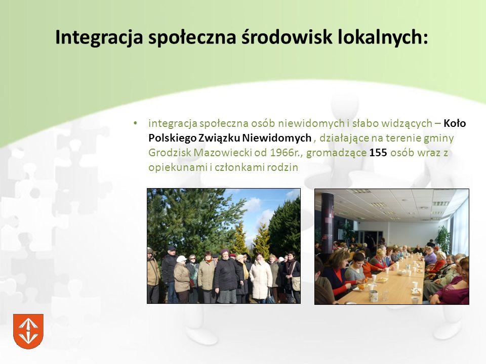 Integracja społeczna środowisk lokalnych: integracja społeczna osób niewidomych i słabo widzących – Koło Polskiego Związku Niewidomych, działające na terenie gminy Grodzisk Mazowiecki od 1966r., gromadzące 155 osób wraz z opiekunami i członkami rodzin