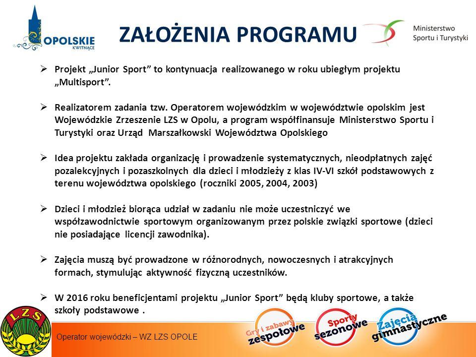 """Instytut Sportu - operator krajowy ZAŁOŻENIA PROGRAMU  Projekt """"Junior Sport to kontynuacja realizowanego w roku ubiegłym projektu """"Multisport ."""