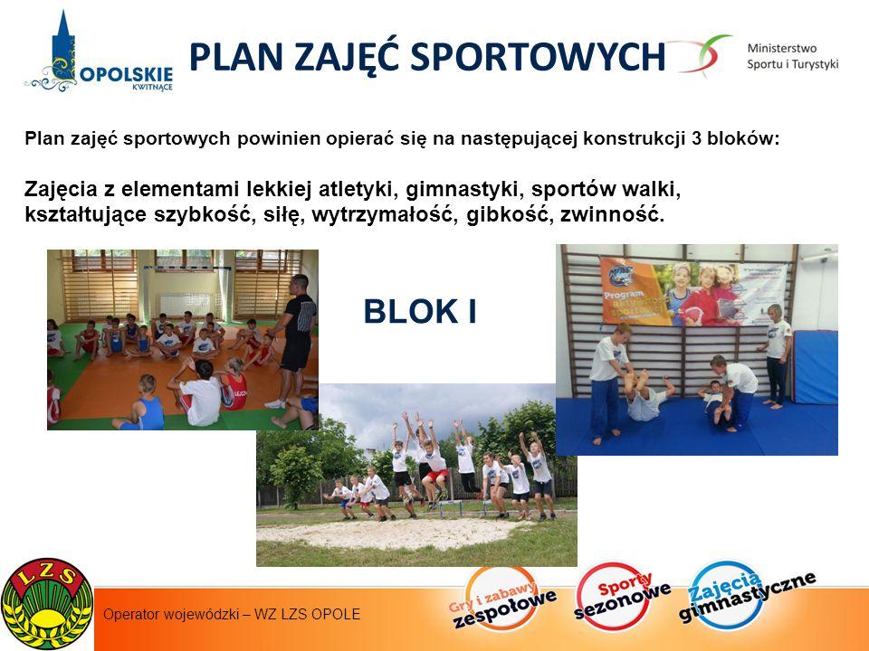 Instytut Sportu - operator krajowy PLAN ZAJĘĆ SPORTOWYCH Plan zajęć sportowych powinien opierać się na następującej konstrukcji 3 bloków: Zajęcia z elementami lekkiej atletyki, gimnastyki, sportów walki, kształtujące szybkość, siłę, wytrzymałość, gibkość, zwinność.