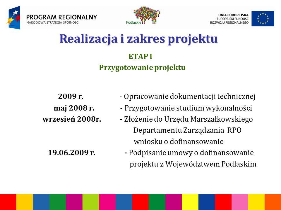 ETAP I Przygotowanie projektu 2009 r.- Opracowanie dokumentacji technicznej maj 2008 r.