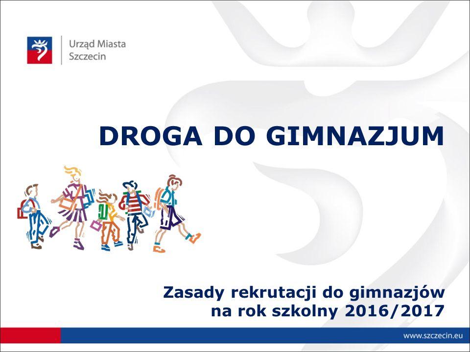 DROGA DO GIMNAZJUM Zasady rekrutacji do gimnazjów na rok szkolny 2016/2017