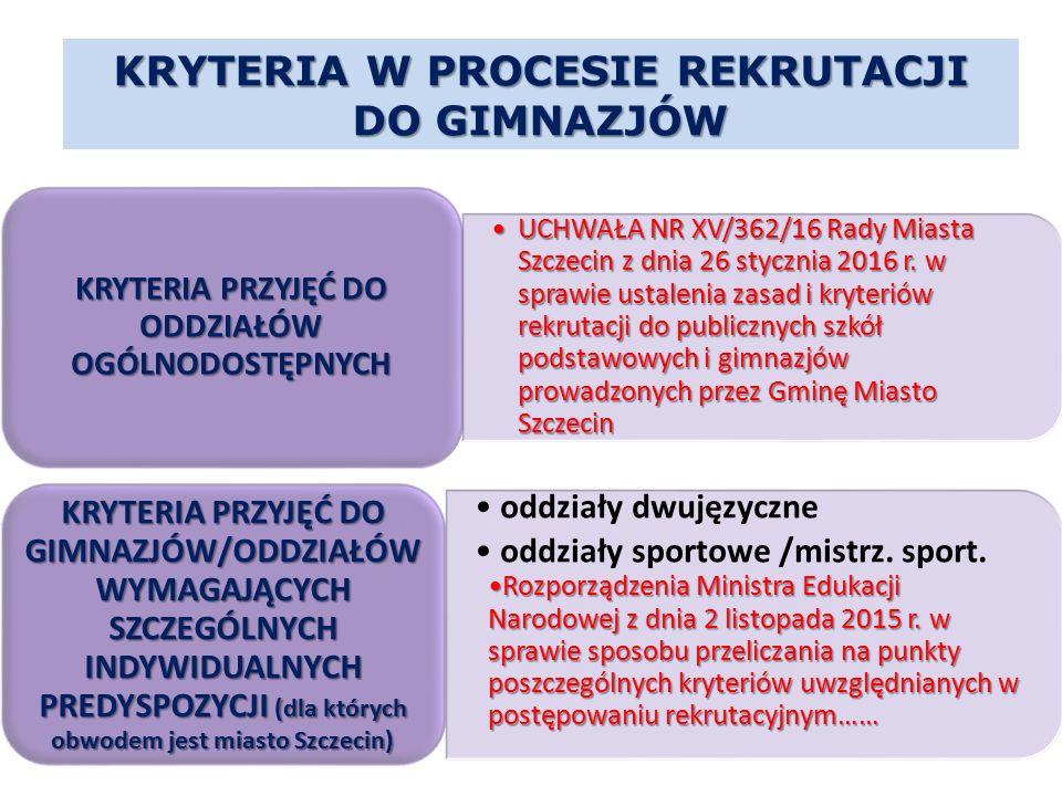 KRYTERIA W PROCESIE REKRUTACJI DO GIMNAZJÓW UCHWAŁA NR XV/362/16 Rady Miasta Szczecin z dnia 26 stycznia 2016 r. w sprawie ustalenia zasad i kryteriów