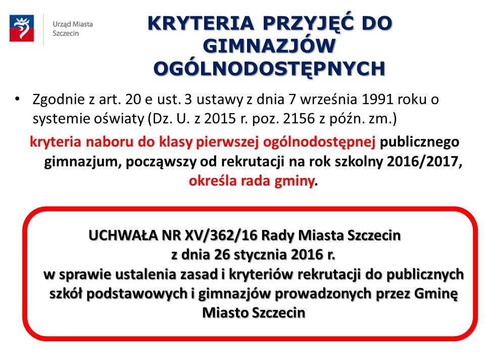 KRYTERIA PRZYJĘĆ DO GIMNAZJÓW OGÓLNODOSTĘPNYCH Zgodnie z art. 20 e ust. 3 ustawy z dnia 7 września 1991 roku o systemie oświaty (Dz. U. z 2015 r. poz.
