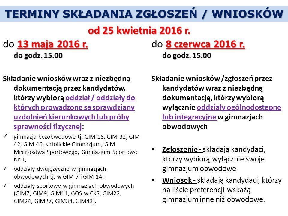 TERMINY SKŁADANIA ZGŁOSZEŃ / WNIOSKÓW 13 maja 2016 r. do godz. 15.00 do 13 maja 2016 r. do godz. 15.00 Składanie wniosków wraz z niezbędną dokumentacj