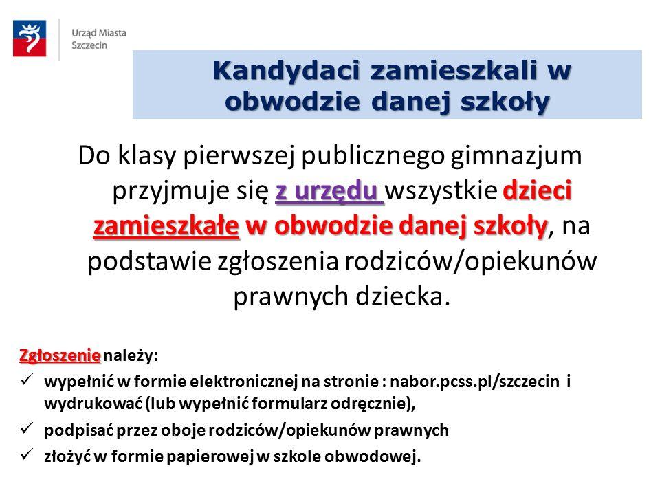 KRYTERIA PRZYJĘĆ DO GIMNAZJÓW OGÓLNODOSTĘPNYCH KryteriumLiczba punktów Dokumenty niezbędne do potwierdzenia kryteriów Punkty za oceny z pięciu przedmiotów wymienionych na świadectwie ukończenia szkoły podstawowej Oceny przeliczane są zgodnie z zasadą: celujący 4 punkty, bardzo dobry 3 punkty, dobry 2 punkty, pozostałe oceny 0 pkt Świadectwo ukończenia szkoły podstawowej język polskipunkty wynikające z przelicznika x 2 (maks.