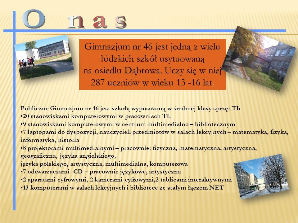 Gimnazjum nr 46 jest jedną z wielu łódzkich szkół usytuowaną na osiedlu Dąbrowa.