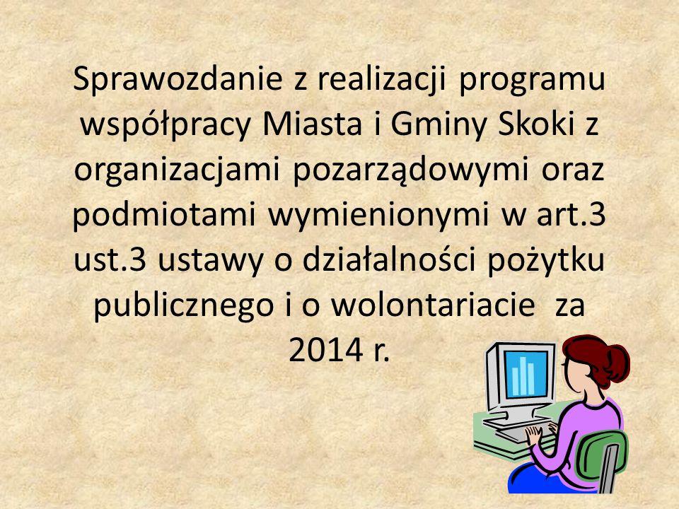 Sprawozdanie z realizacji programu współpracy Miasta i Gminy Skoki z organizacjami pozarządowymi oraz podmiotami wymienionymi w art.3 ust.3 ustawy o działalności pożytku publicznego i o wolontariacie za 2014 r.