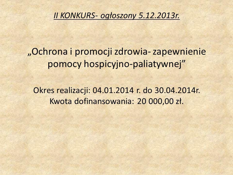 II KONKURS- ogłoszony 5.12.2013r.