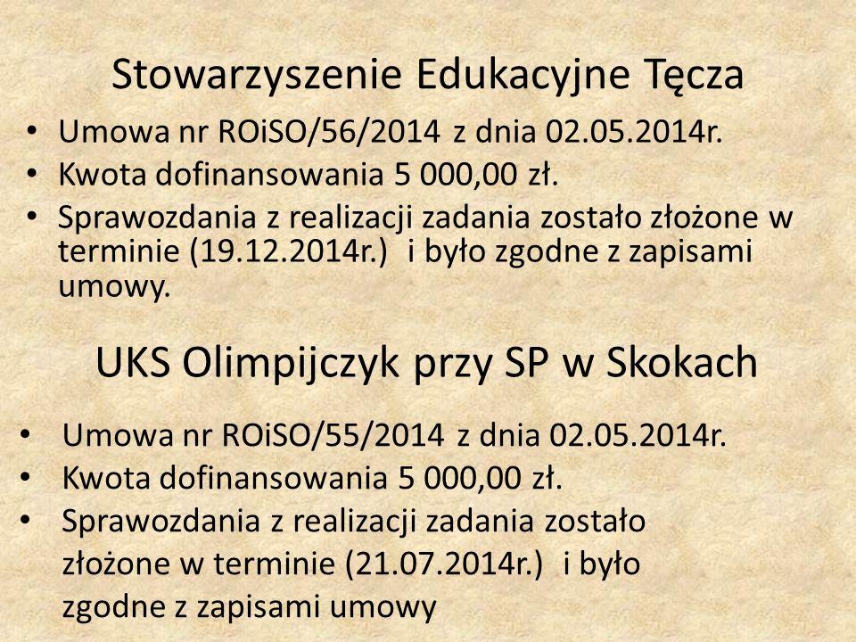 Stowarzyszenie Edukacyjne Tęcza Umowa nr ROiSO/56/2014 z dnia 02.05.2014r.