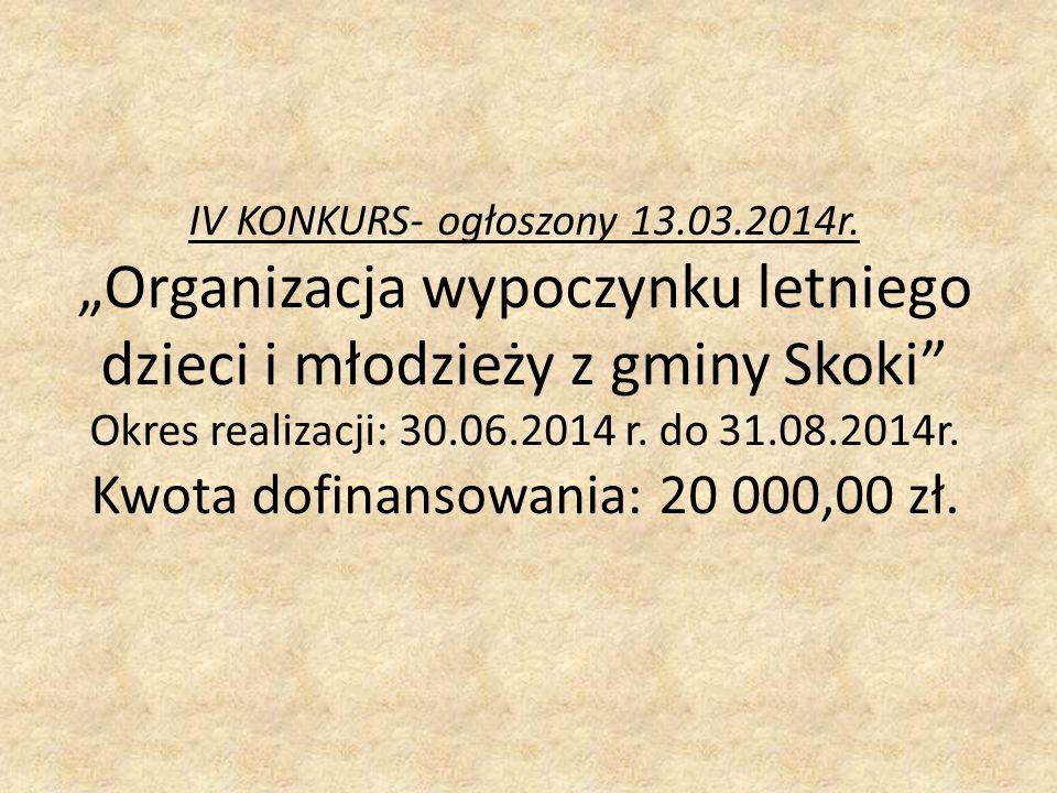 IV KONKURS- ogłoszony 13.03.2014r.