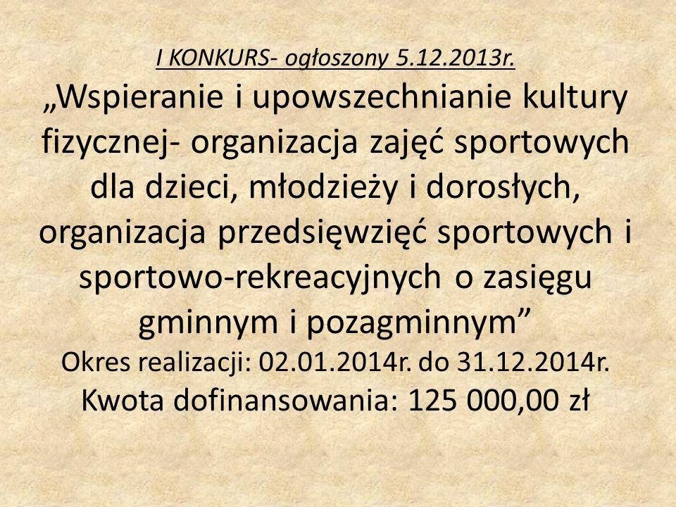I KONKURS- ogłoszony 5.12.2013r.