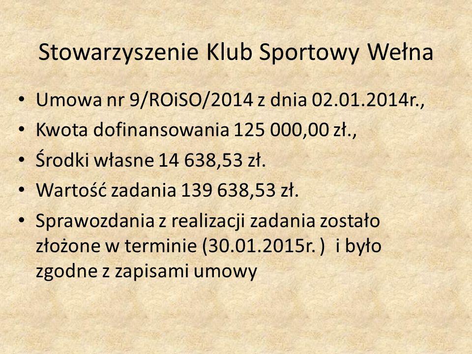 Stowarzyszenie Klub Sportowy Wełna Umowa nr 9/ROiSO/2014 z dnia 02.01.2014r., Kwota dofinansowania 125 000,00 zł., Środki własne 14 638,53 zł.