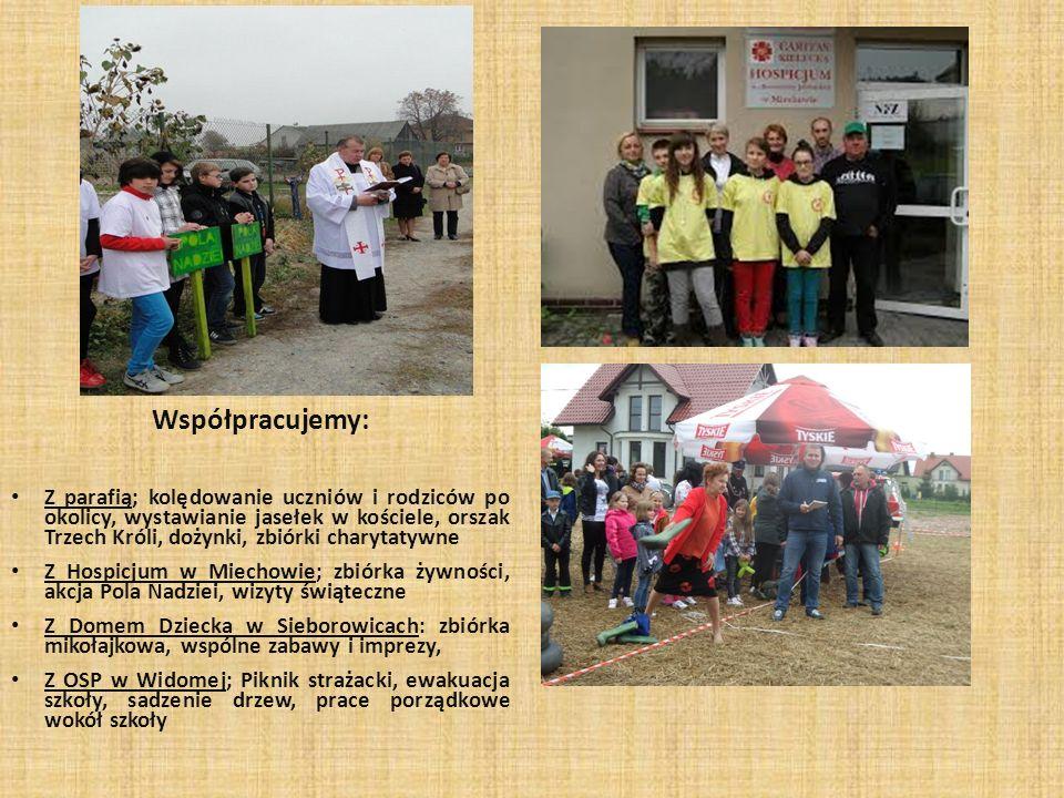 Współpracujemy: Z parafią; kolędowanie uczniów i rodziców po okolicy, wystawianie jasełek w kościele, orszak Trzech Króli, dożynki, zbiórki charytatyw