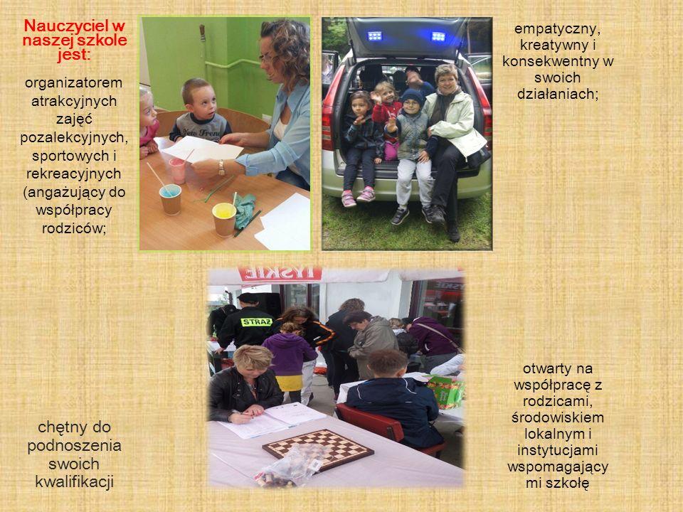 Nauczyciel w naszej szkole jest: organizatorem atrakcyjnych zajęć pozalekcyjnych, sportowych i rekreacyjnych (angażujący do współpracy rodziców; empat