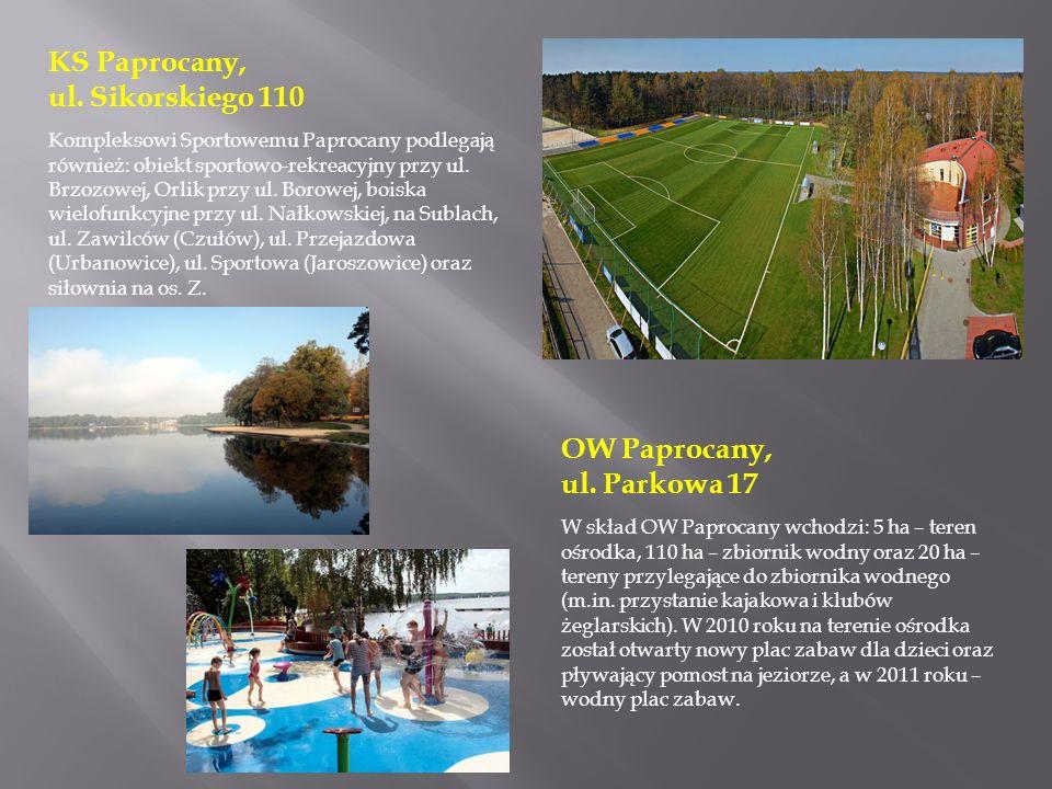 OW Paprocany, ul. Parkowa 17 W skład OW Paprocany wchodzi: 5 ha – teren ośrodka, 110 ha – zbiornik wodny oraz 20 ha – tereny przylegające do zbiornika
