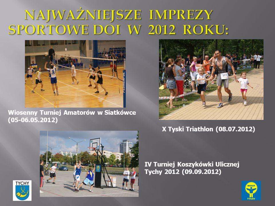 Wiosenny Turniej Amatorów w Siatkówce (05-06.05.2012) X Tyski Triathlon (08.07.2012) IV Turniej Koszykówki Ulicznej Tychy 2012 (09.09.2012)