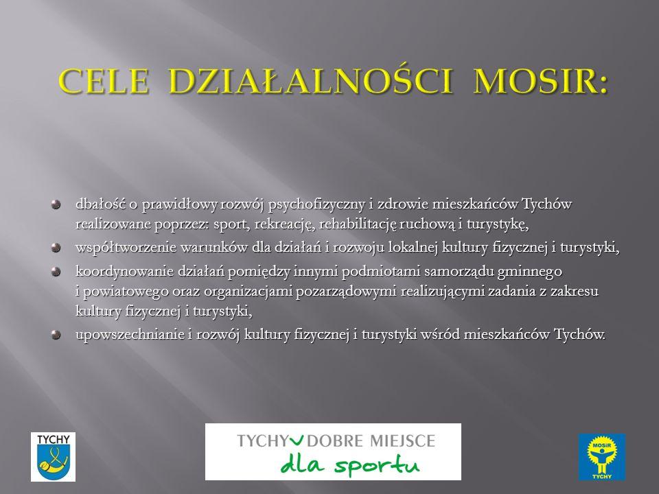dbałość o prawidłowy rozwój psychofizyczny i zdrowie mieszkańców Tychów realizowane poprzez: sport, rekreację, rehabilitację ruchową i turystykę, wspó