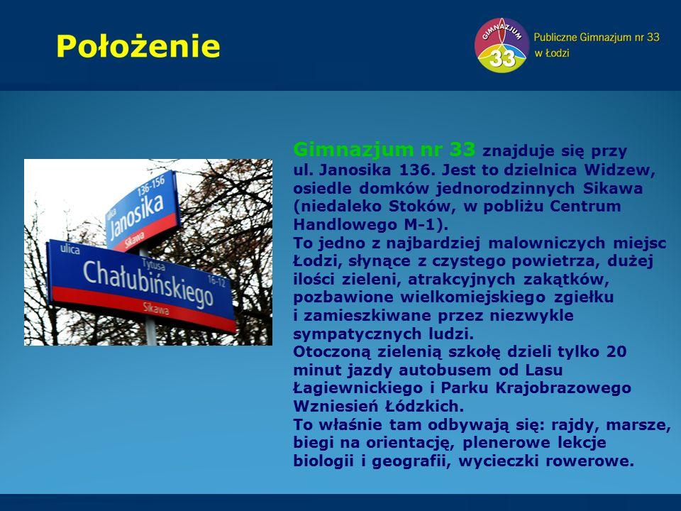Gimnazjum nr 33 znajduje się przy ul.Janosika 136.