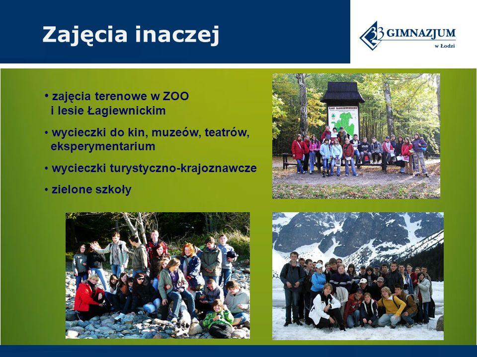 zajęcia terenowe w ZOO i lesie Łagiewnickim wycieczki do kin, muzeów, teatrów, eksperymentarium wycieczki turystyczno-krajoznawcze zielone szkoły Zaję