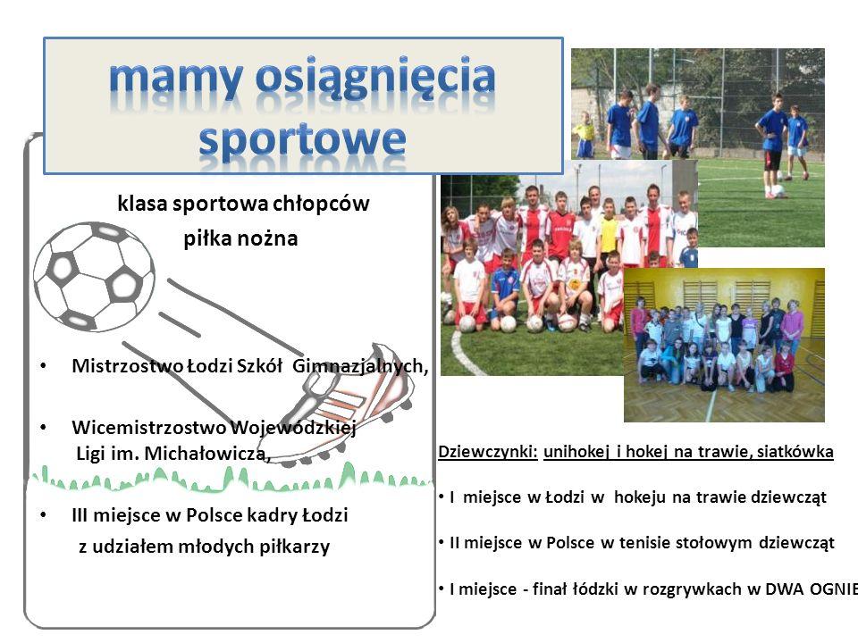 klasa sportowa chłopców piłka nożna Mistrzostwo Łodzi Szkół Gimnazjalnych, Wicemistrzostwo Wojewódzkiej Ligi im.