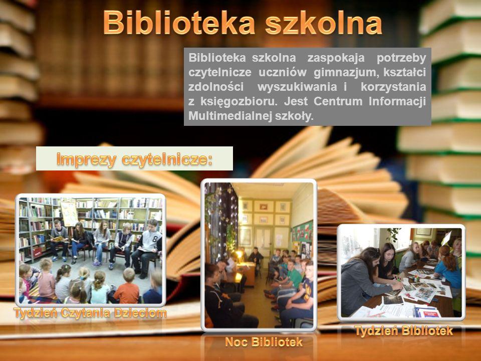Biblioteka szkolna zaspokaja potrzeby czytelnicze uczniów gimnazjum, kształci zdolności wyszukiwania i korzystania z księgozbioru.