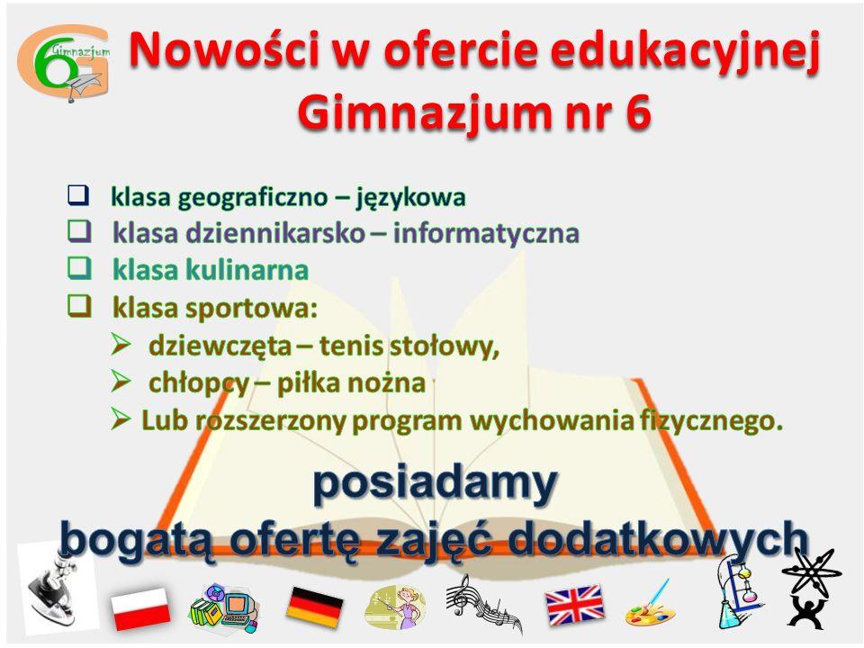 Nowości w ofercie edukacyjnej Gimnazjum nr 6