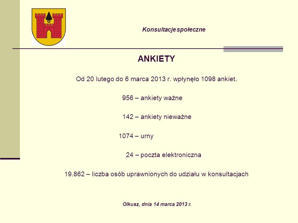 Konsultacje społeczne ANKIETY Od 20 lutego do 6 marca 2013 r.