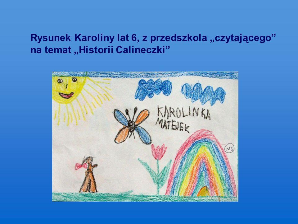 """Rysunek Karoliny lat 6, z przedszkola """"czytającego na temat """"Historii Calineczki"""