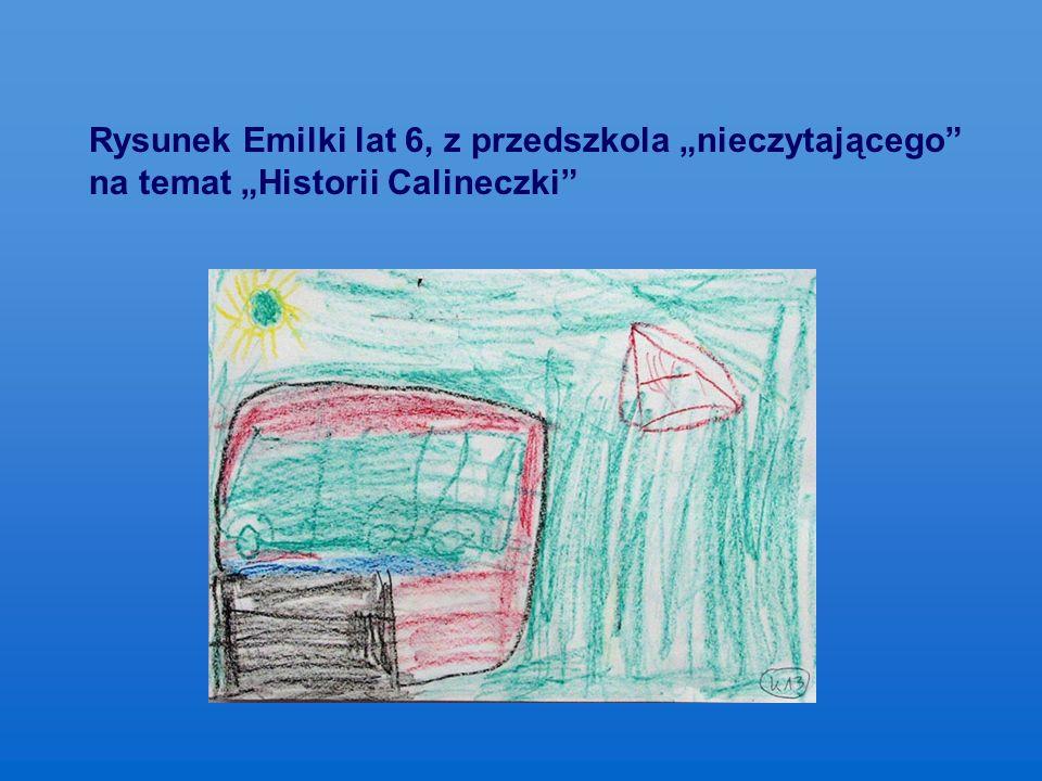 """Rysunek Emilki lat 6, z przedszkola """"nieczytającego na temat """"Historii Calineczki"""