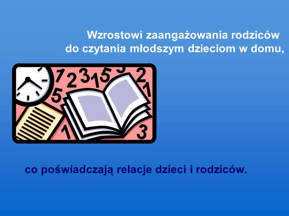 Wzrostowi zaangażowania rodziców do czytania młodszym dzieciom w domu, co poświadczają relacje dzieci i rodziców.